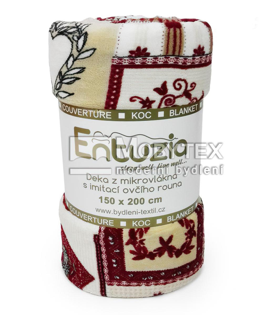 Deka z mikrovlákna BERÁNEK tisk patchwork vínový, 150x200cm