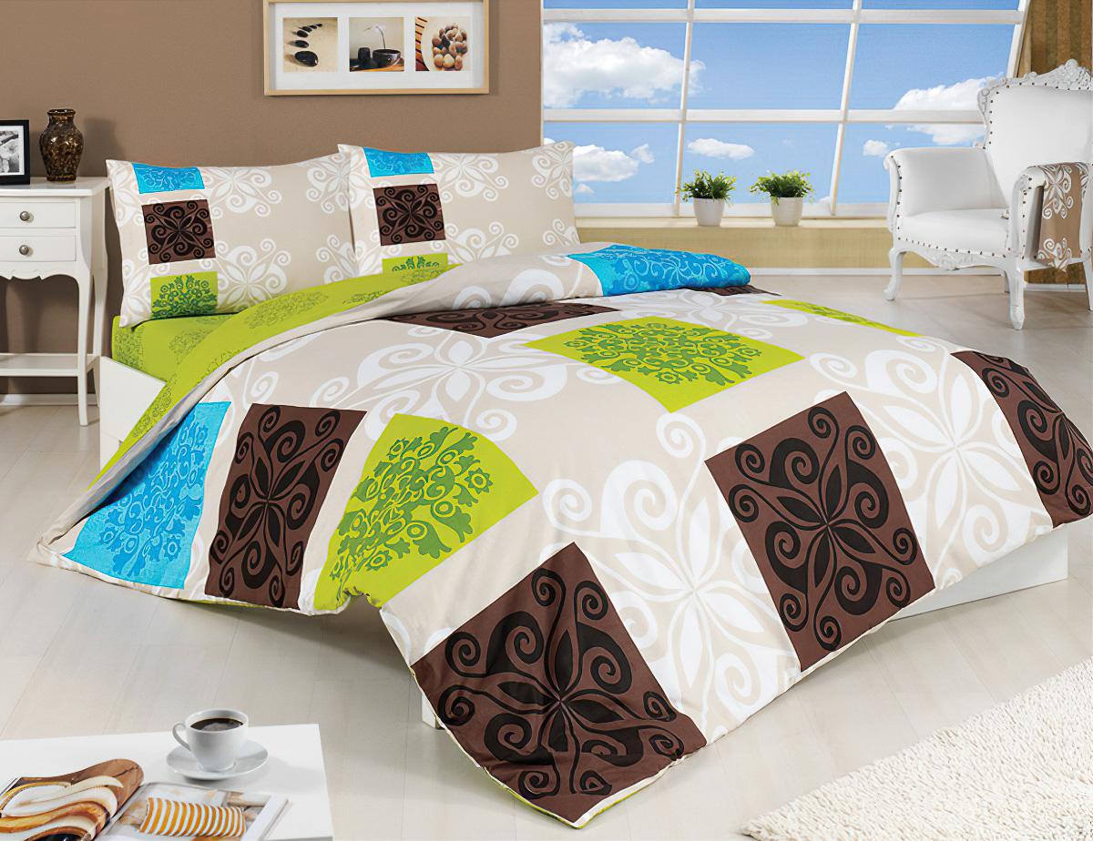 Přehoz na postel SEDEF ZELENÝ 220x240cm + 2x 40x40cm, dvoulůžkový