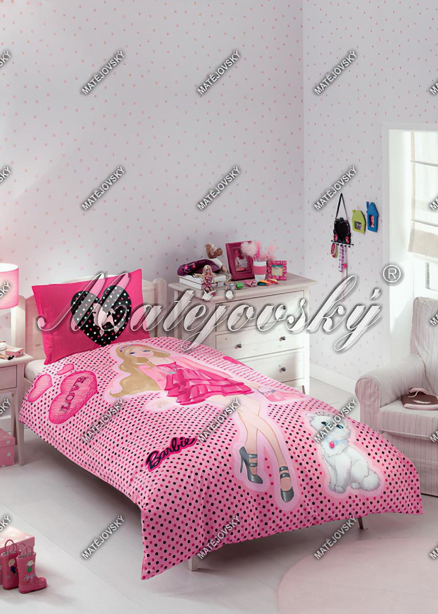 Dětské povlečení BARBIE LOVE bavlna hladká, 140x200cm - SLEVA 30%