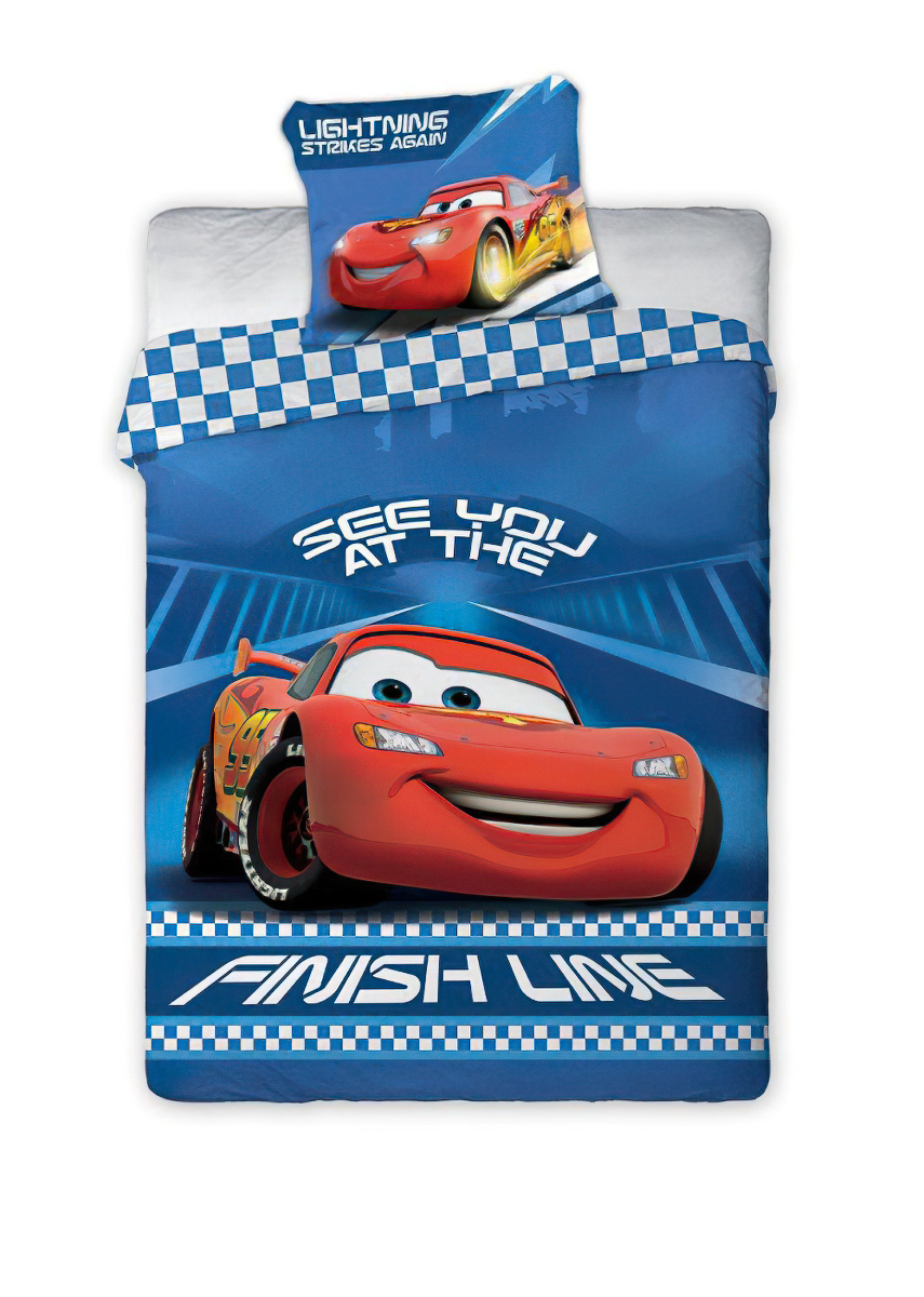 Dětské povlečení CARS 041 SEE YOU AT THE FINISH bavlna hladká, 100x135cm + 40x60cm
