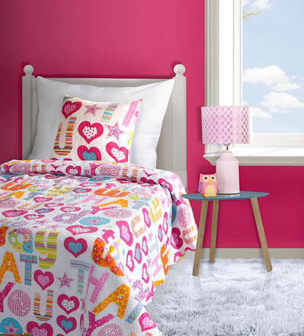 Dětský přehoz na postel GABBY - růžová srdíčka, 170x210cm, jednolůžkový