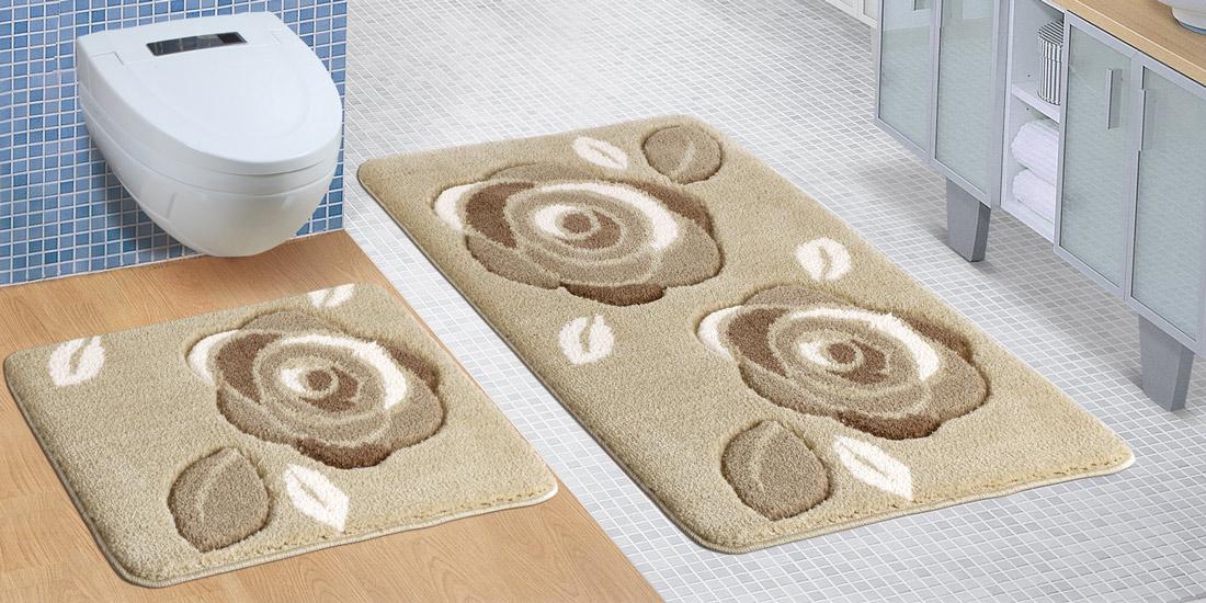 Koupelnová souprava HNĚDÉ RŮŽE, 100x60cm (předložka) + 60x50cm (na WC)