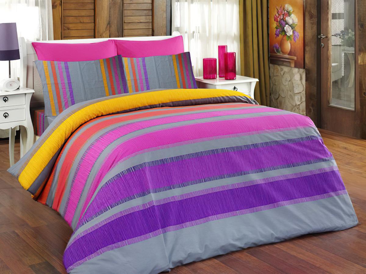 Povlečení ELLE fialové bavlna hladká, 140x200cm + 70x90cm