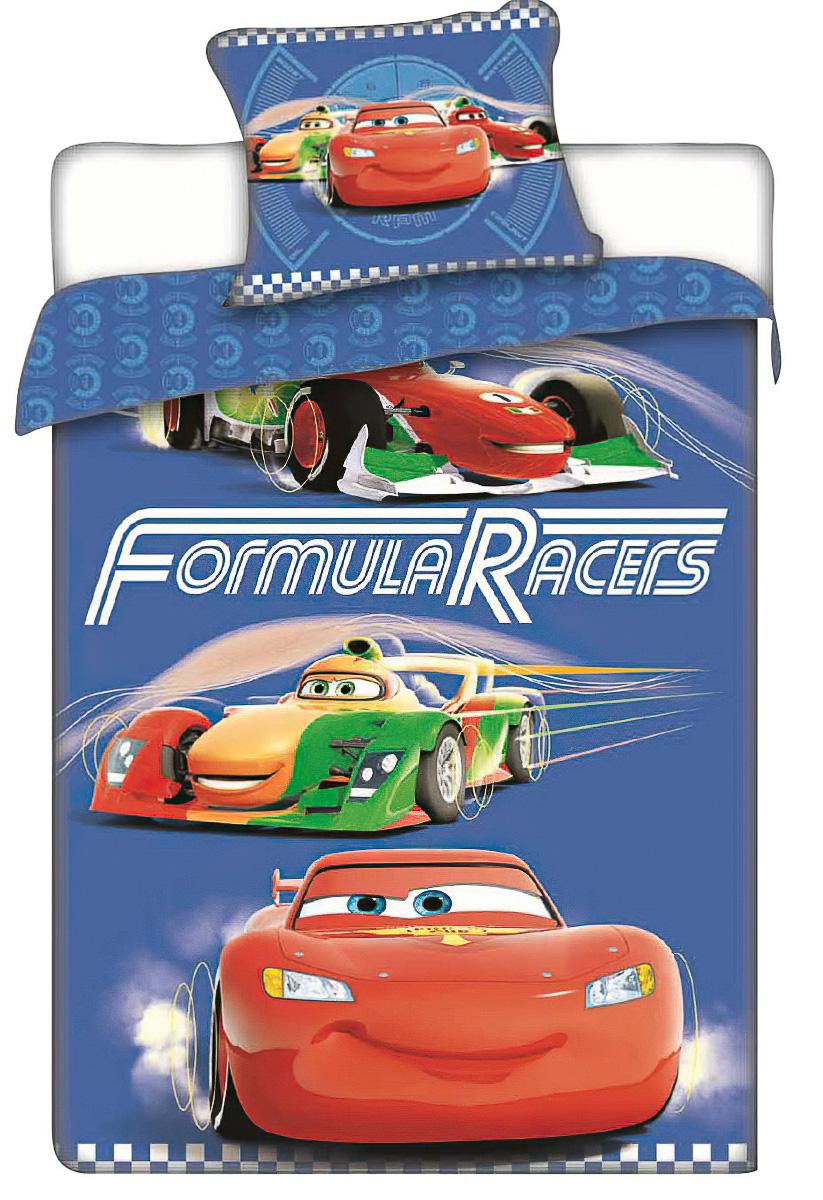 Dětské povlečení CARS RACERS (AUTA) bavlna hladká, 140x200cm + 70x90cm