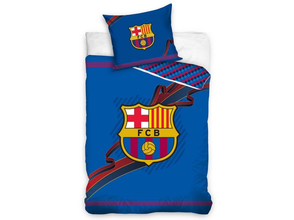 Fotbalové povlečení FC BARCELONA RIBBON bavlna hladká, 140x200cm + 70x80cm
