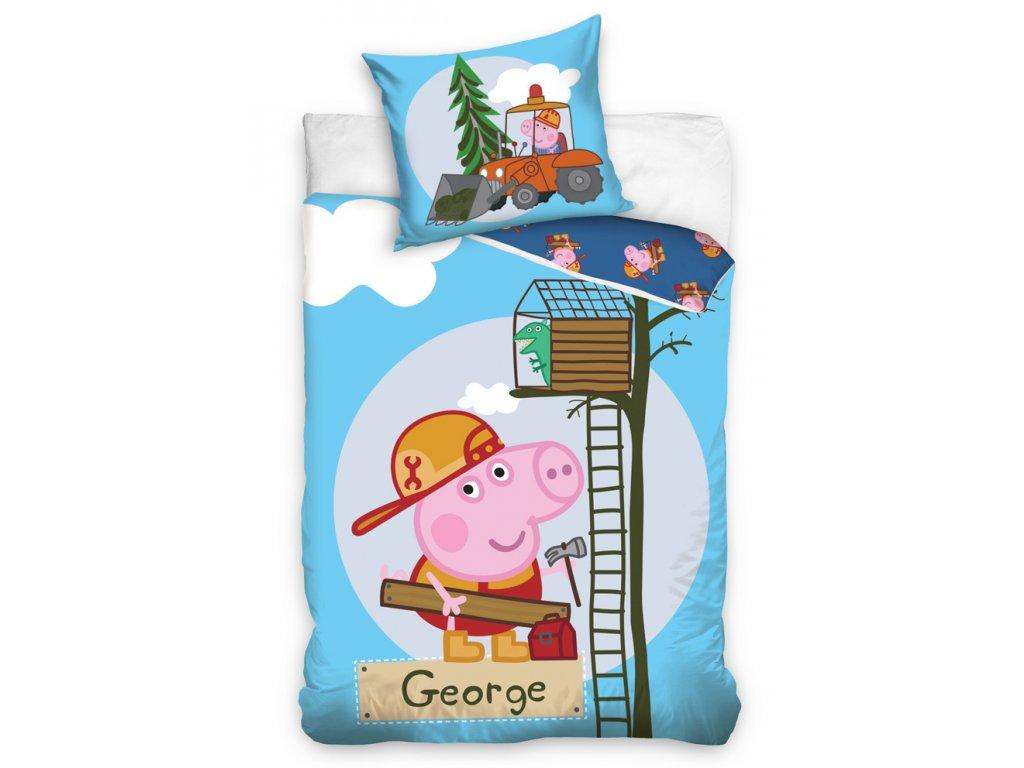 Dětské povlečení PRASÁTKO PEPINA (PEPPA) GEORGE KUTIL bavlna hladká, 140x200cm + 70x80cm