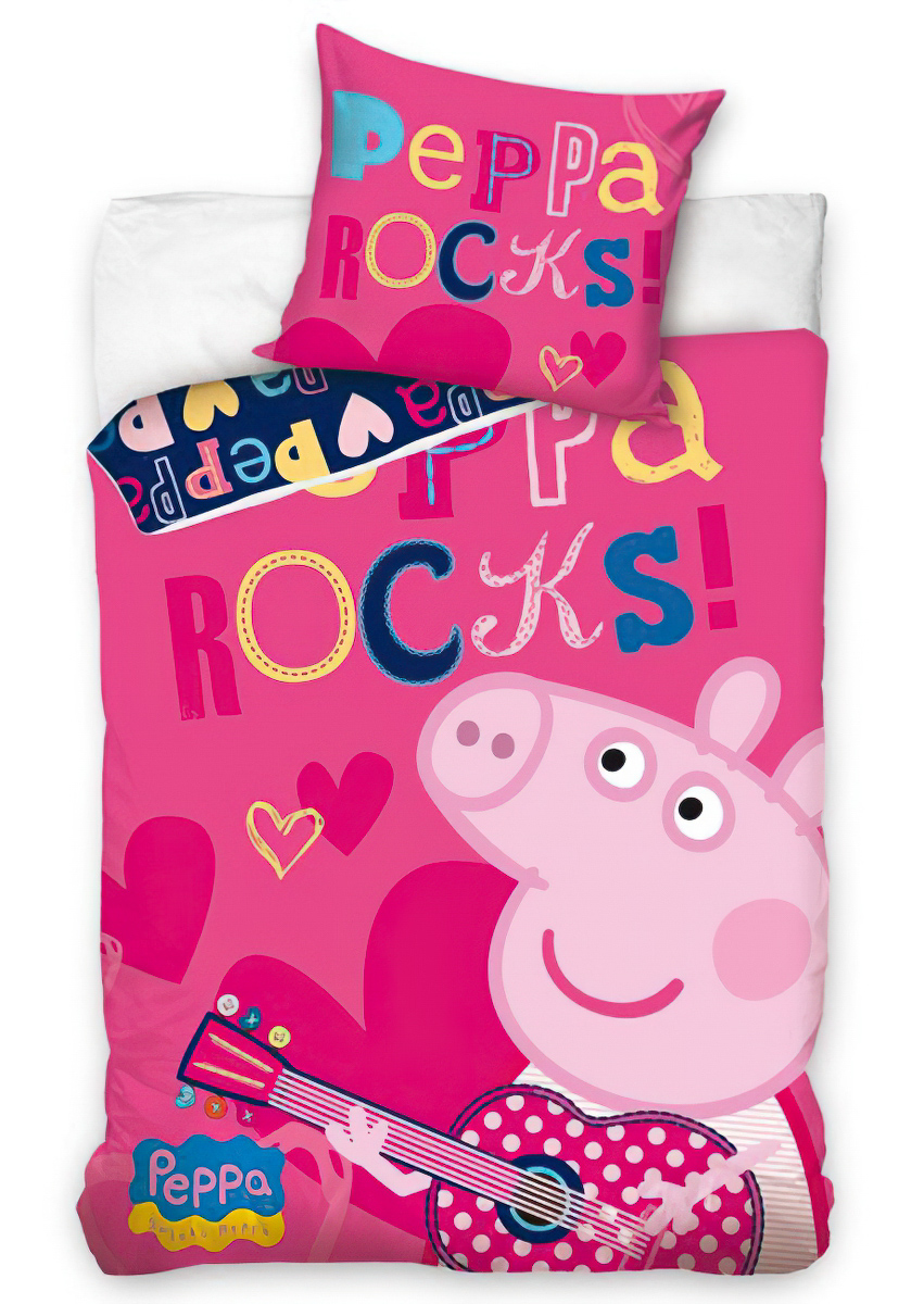 Dětské povlečení PRASÁTKO PEPINA ROCK (PEPPA) bavlna hladká, 140x200cm + 70x80cm