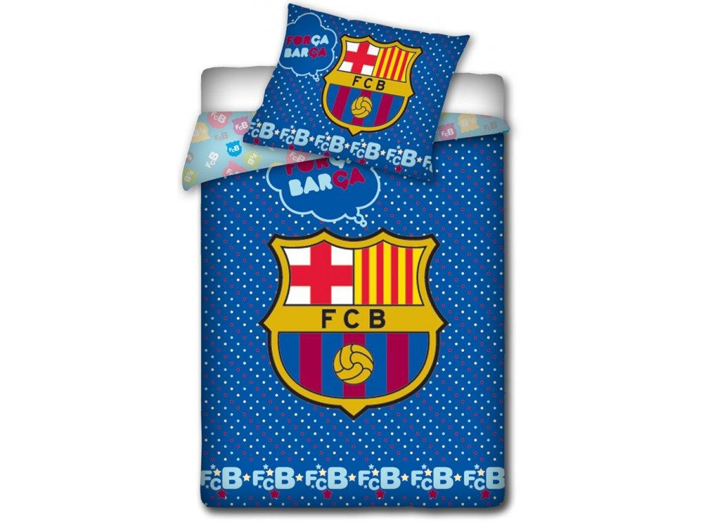 Dětské fotbalové povlečení do postýlky FC BARCELONA ERBY bavlna hladká, 100x135cm + 40x60cm