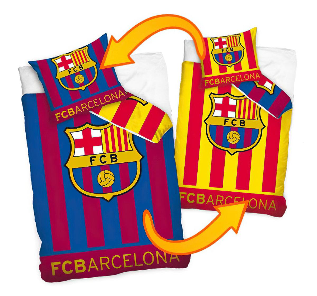 Fotbalové povlečení FC BARCELONA DOUBLE bavlna hladká, 140x200cm + 70x80cm
