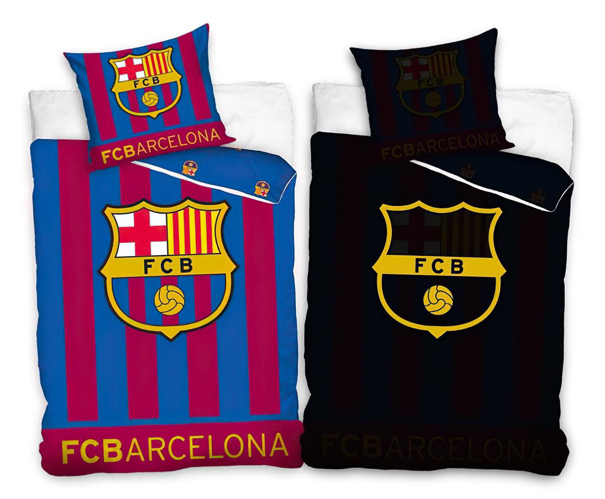 Fotbalové povlečení FC BARCELONA SVÍTÍCÍ bavlna hladká, 140x200cm + 70x80cm