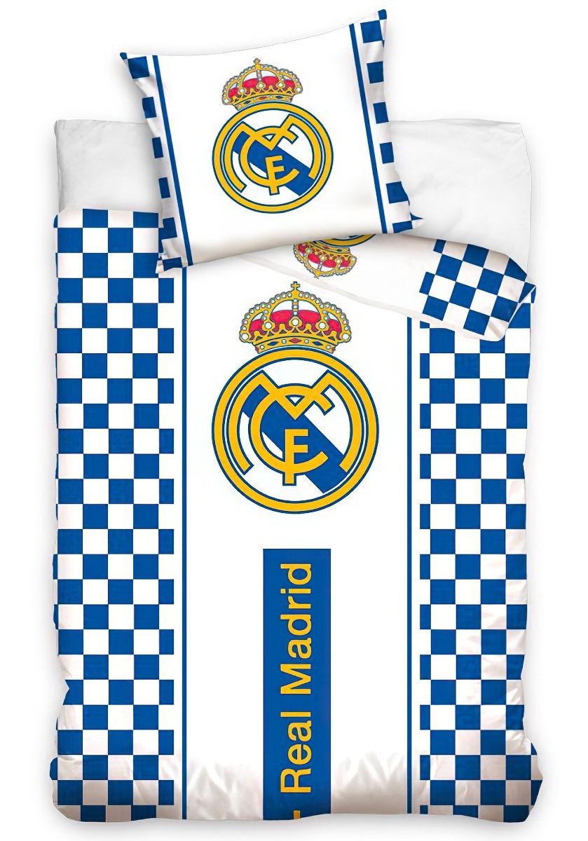 Fotbalové povlečení REAL MADRID CHECK bavlna hladká, 140x200cm + 70x90cm