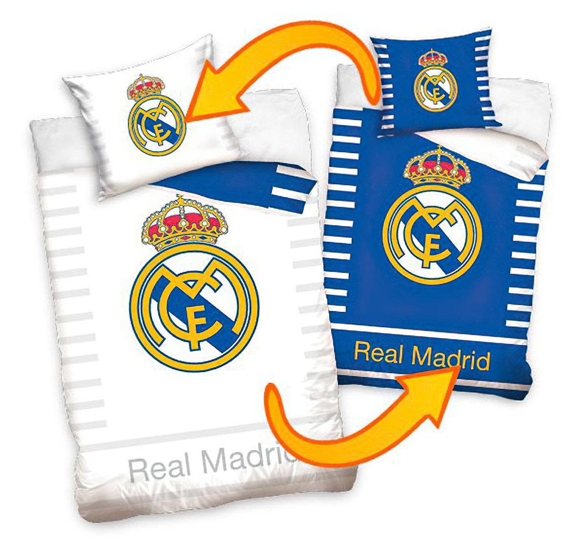 Fotbalové povlečení REAL MADRID DOUBLE bavlna hladká, 140x200cm + 70x80cm