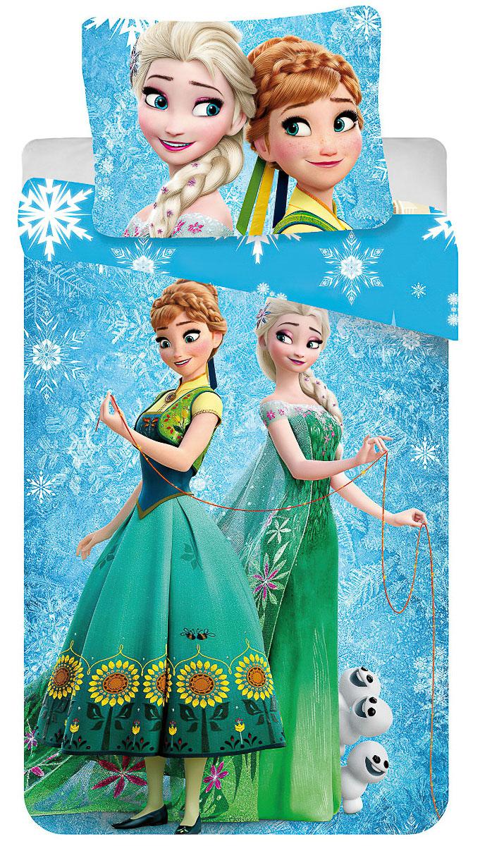 Dětské povlečení FROZEN BLUE SNOWFLAKE bavlna hladká, 140x200cm + 70x90cm