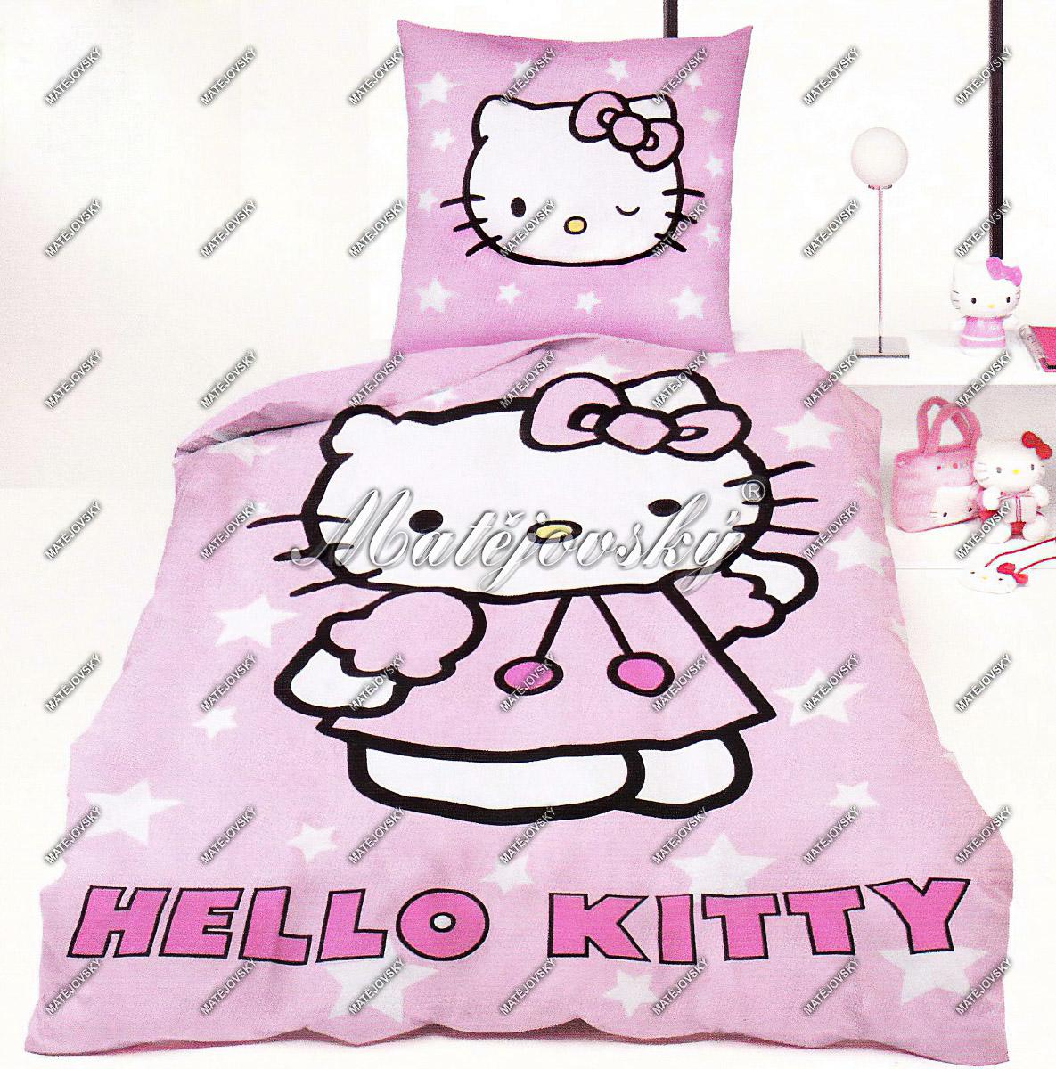 Dětské povlečení HELLO KITTY bavlna hladká, 90x130cm