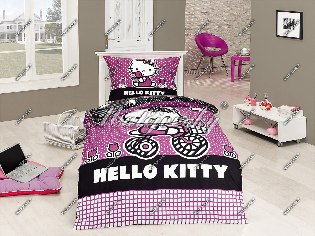 Dětské povlečení HELLO KITTY SPORT bavlna hladká, 140x200cm