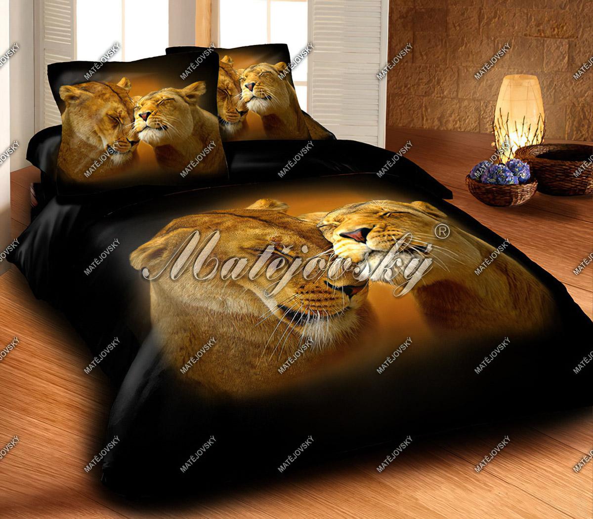 Povlečení LION LOVE fototisk, bavlna hladká, 140x200cm
