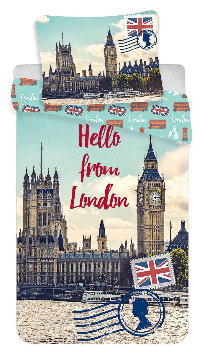 Povlečení LONDON HELLO fototisk bavlna hladká, 140x200cm + 70x90cm