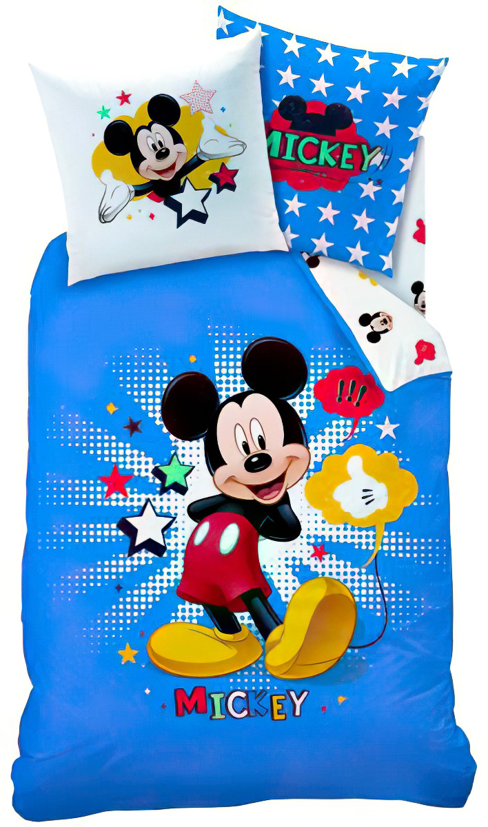 Dětské povlečení MICKEY STAR bavlna hladká, 140x200cm + 70x90cm