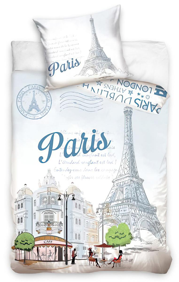 Povlečení PAŘÍŽ - EIFFELOVA VĚŽ bavlna hladká, 140x200cm + 70x90cm