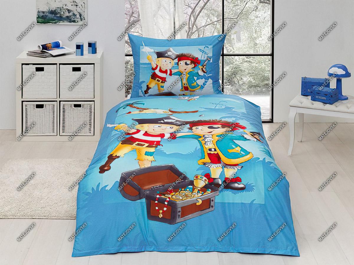 Dětské povlečení PIRÁTSKÁ VÝPRAVA bavlna hladká, 140x200cm + 70x90cm