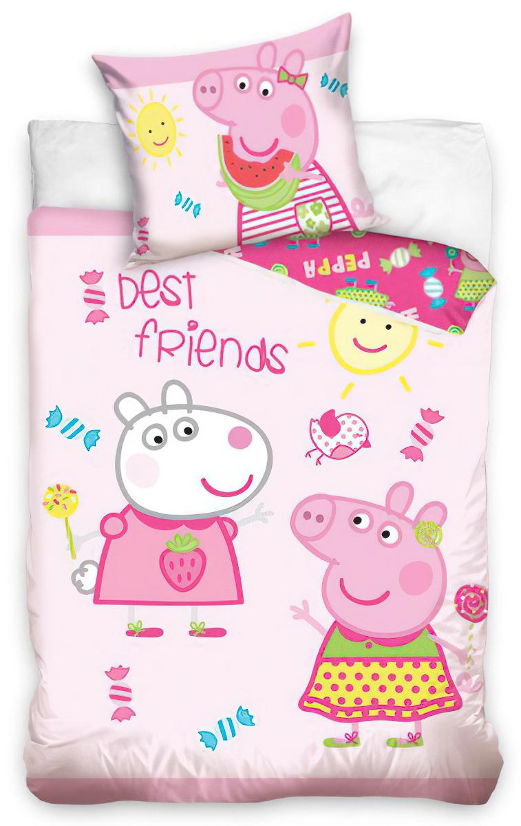 Dětské povlečení do postýlky PEPINA A SUZY (PEPPA) bavlna hladká, 100x135cm + 40x60cm