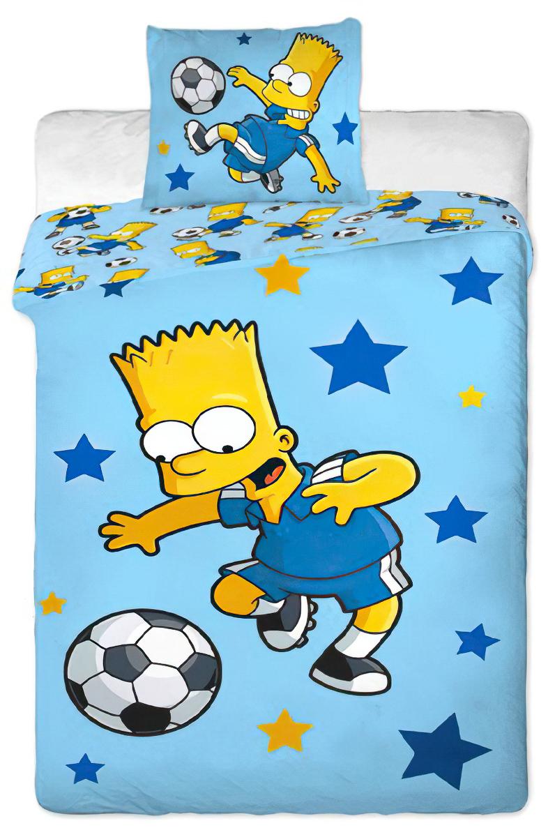 Dětské povlečení SIMPSONS BART BLUE bavlna hladká, 140x200cm + 70x90cm
