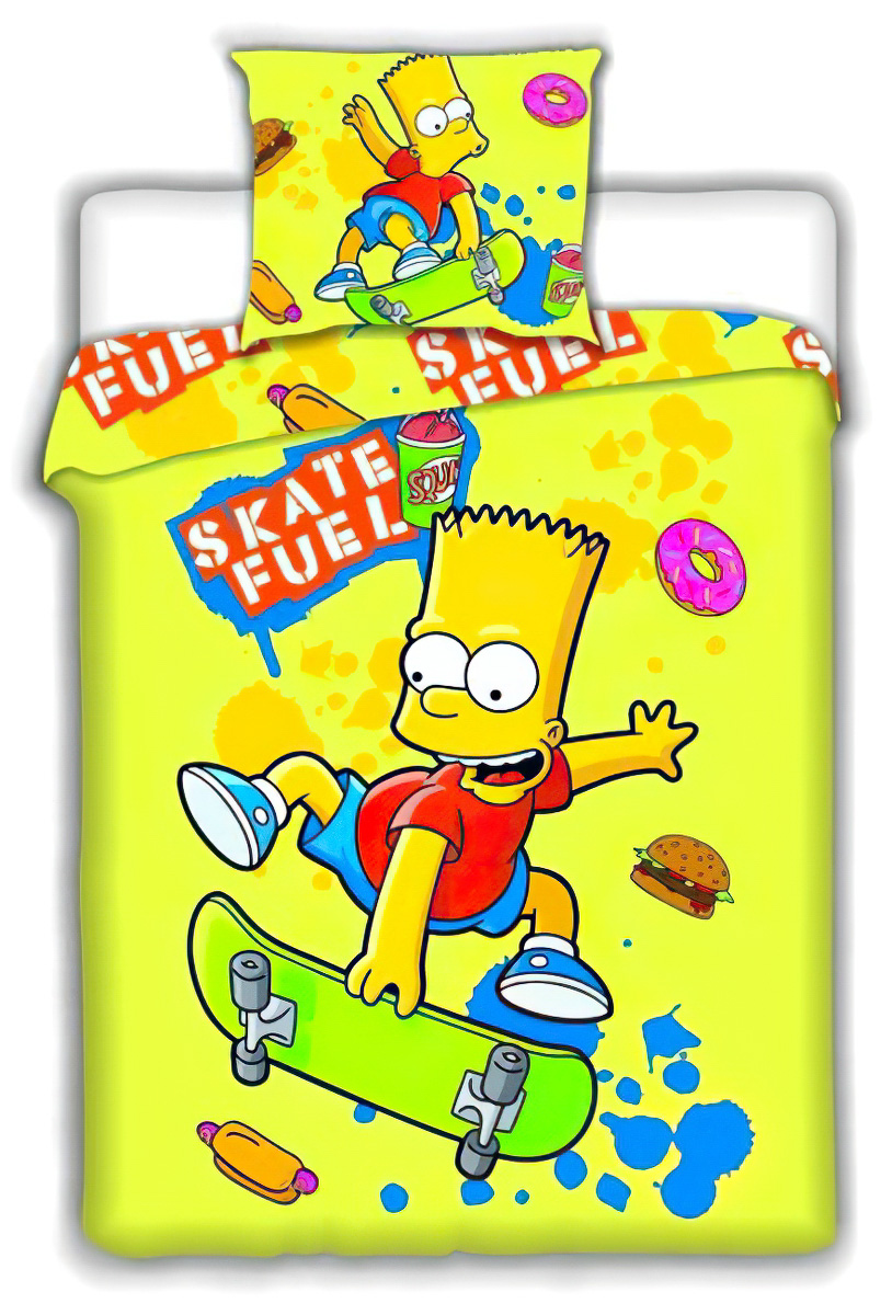 Dětské povlečení SIMPSONS BART SKATE YELLOW bavlna hladká, 140x200cm + 70x90cm