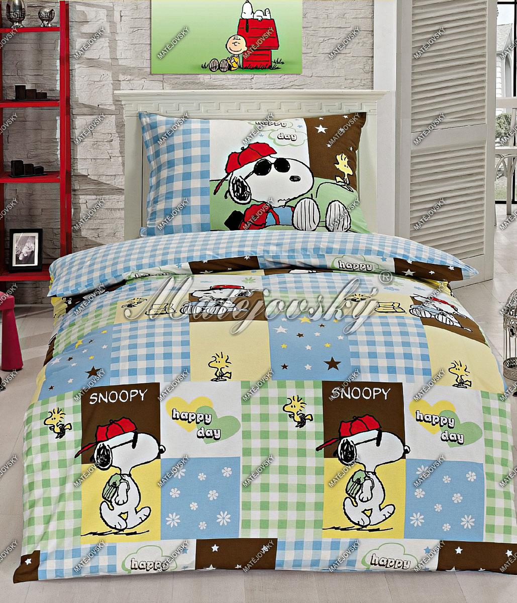 Dětské povlečení SNOOPY HAPPY DAY bavlna hladká, 140x200cm
