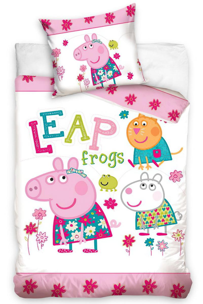 Dětské povlečení PRASÁTKO PEPINA FROGS (PEPPA) bavlna hladká, 100x135cm + 40x60cm