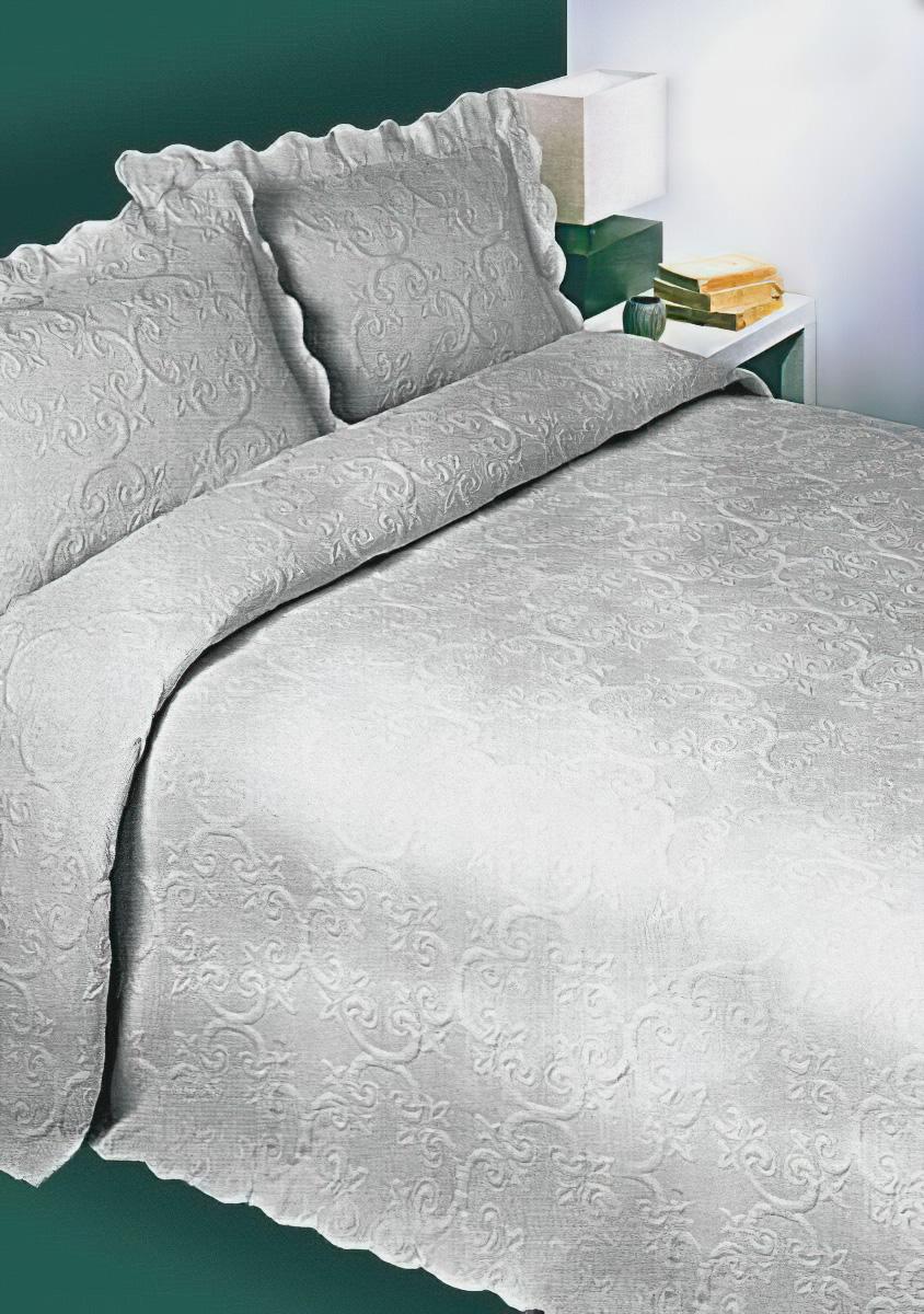 Přehoz na postel BAROK POPELAVÝ, 240x260cm, dvojlůžkový