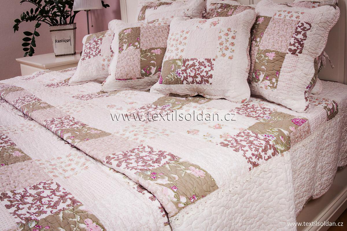 Přehoz na postel DELUXE PATCHWORK - zeleno-růžový, 220x240cm, dvojlůžkový