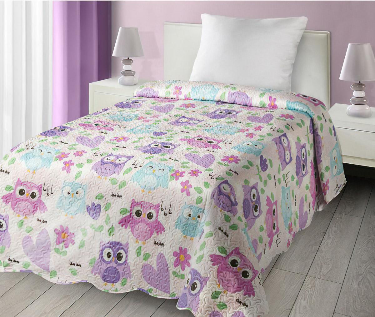 Dětský přehoz na postel DIZZY DĚTSKÝ - SOVIČKY, 170x210cm, jednolůžkový
