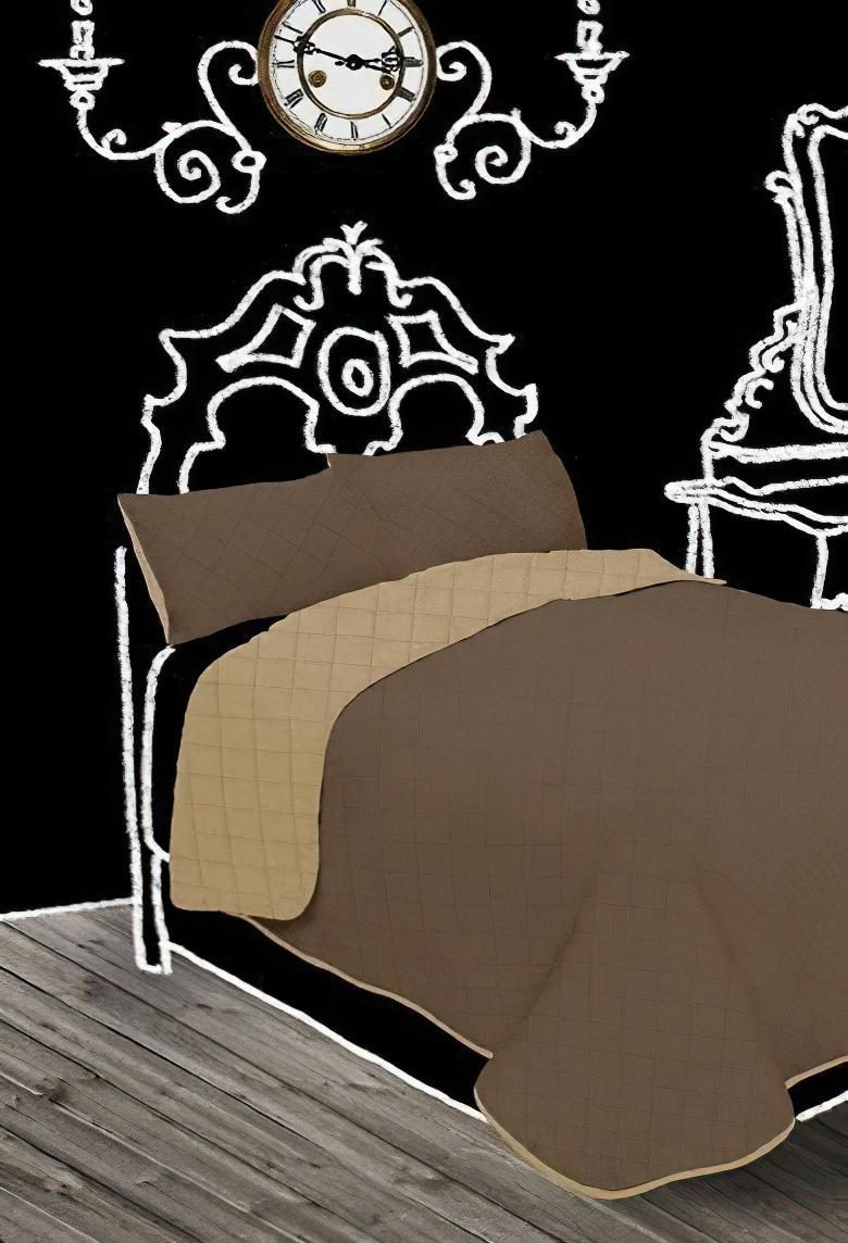 Přehoz na postel GINA hnědý/nugátový, 210x240cm, dvojlůžkový