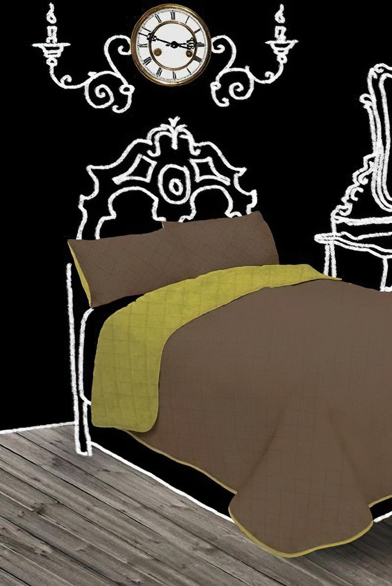 Přehoz na postel GINA světle zelený/nugát, 210x240cm, dvojlůžkový