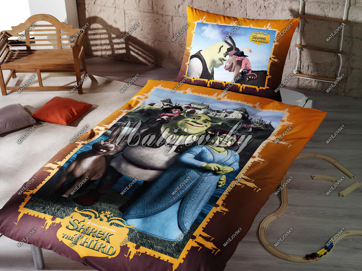 Dětské povlečení SHREK NA ZÁMKU ORANŽOVÝ bavlna hladká, 140x200cm