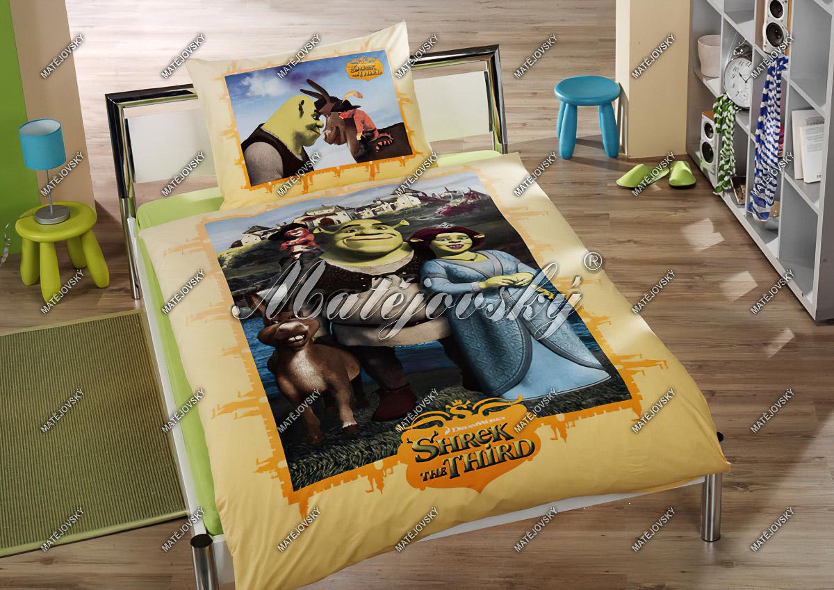 Dětské povlečení SHREK NA ZÁMKU ŽLUTÝ bavlna hladká, 140x200cm