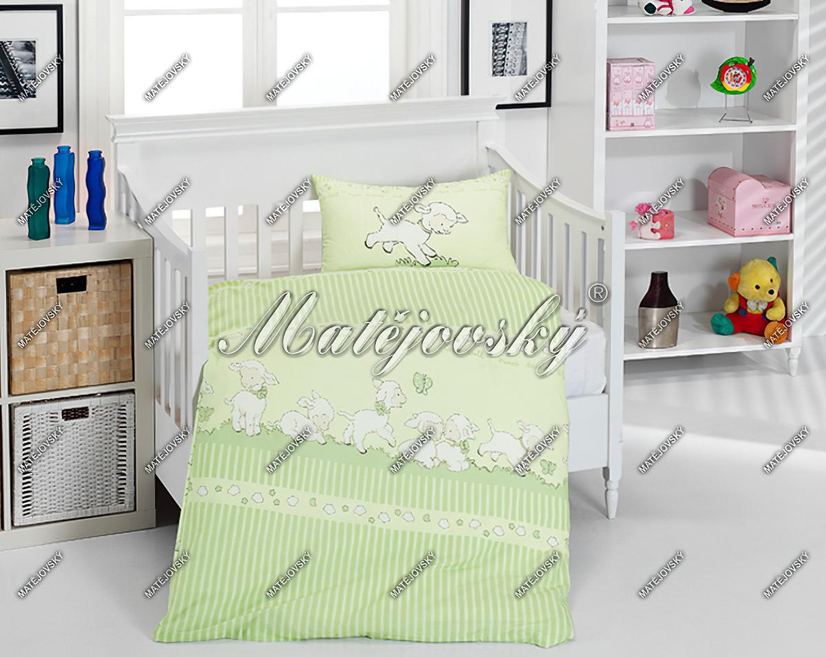 Dětské povlečení SLEEPY SHEEP - GREEN bavlna hladká, 100x135cm