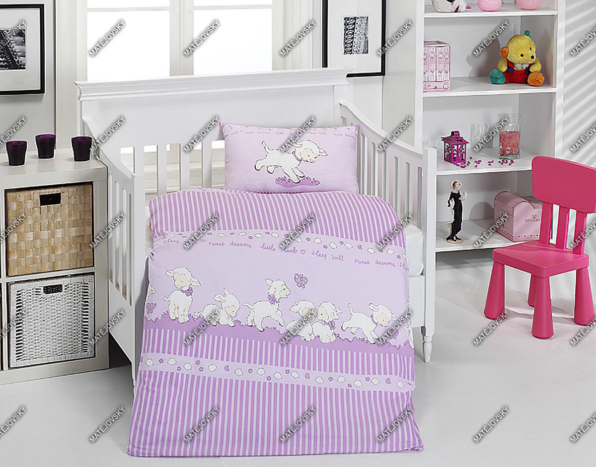 Dětské povlečení do postýlky SLEEPY SHEEP VIOLET bavlna hladká (více rozměrů)