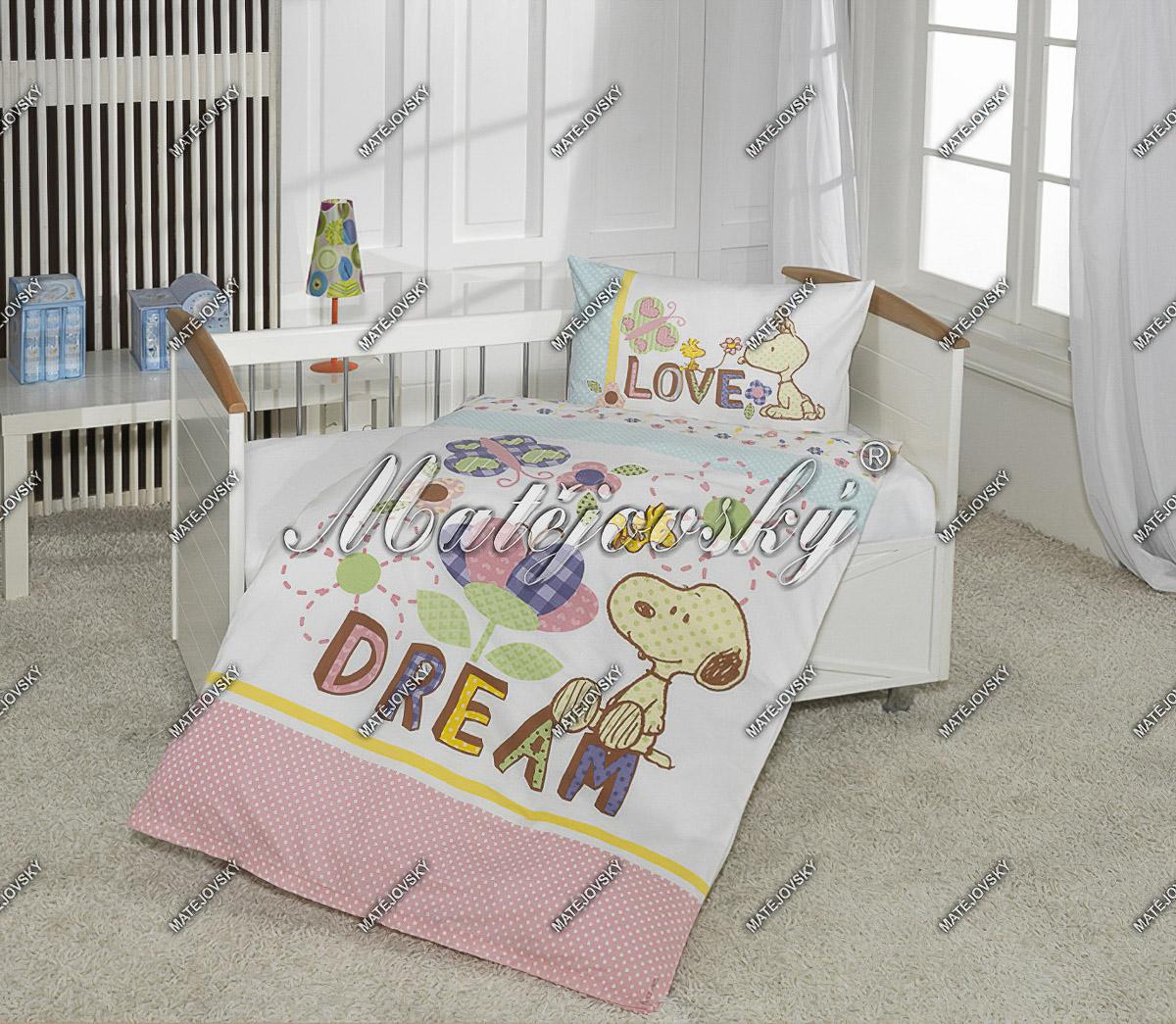Dětské povlečení SNOOPY BABY bavlna hladká, 90x130cm