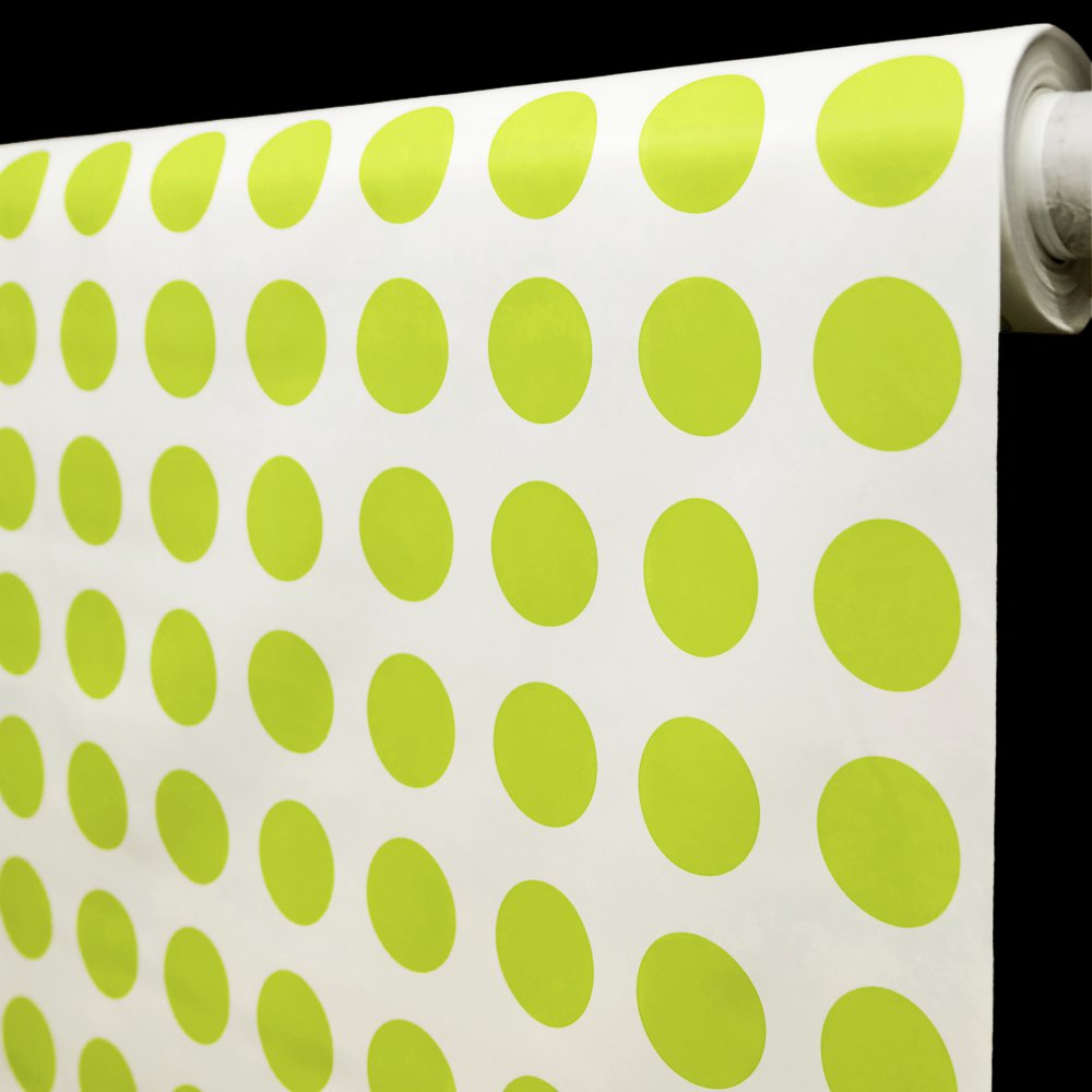 Ubrus PVC s textilním podkladem 16J/05 bílá, zelené puntíky, š.140cm (metráž)